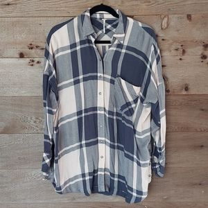 Free People Pink and Blue Oversized Plaid Tunic XS